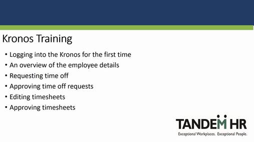 Get Fresh - Kronos Training