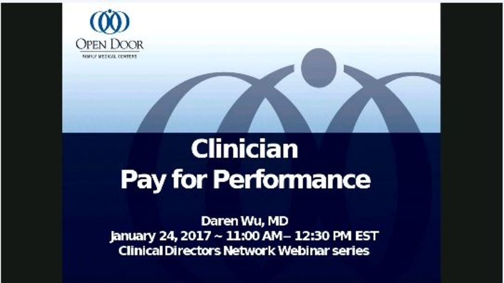 Clinician Pay for Performance