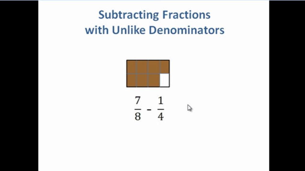 Subtract Fractions with UnLike Denominators.mp4