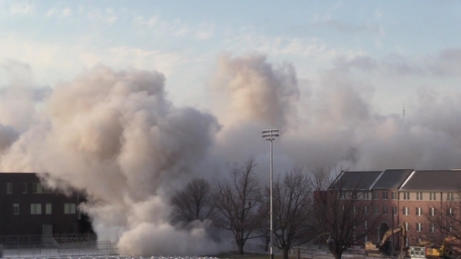 Cather and Pound halls at the University of Nebraska-Lincoln are imploded