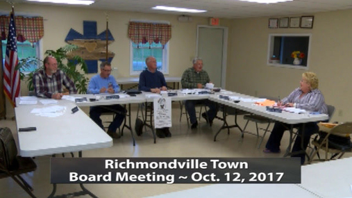 Richmondville Twn Brd Meeting -- Oct. 12-2017