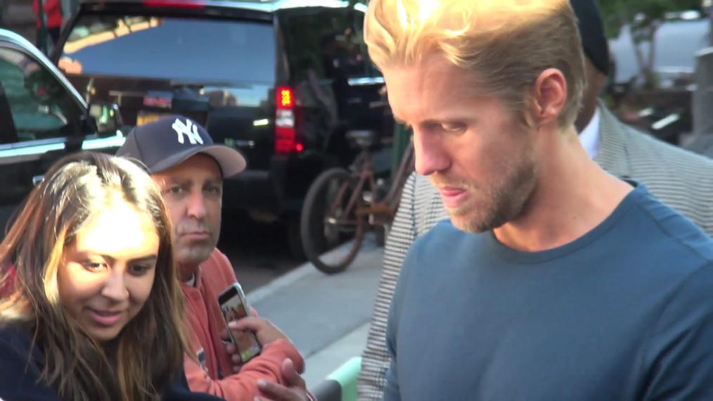 Matt Barr outside the BUILD Series in New York.mp4
