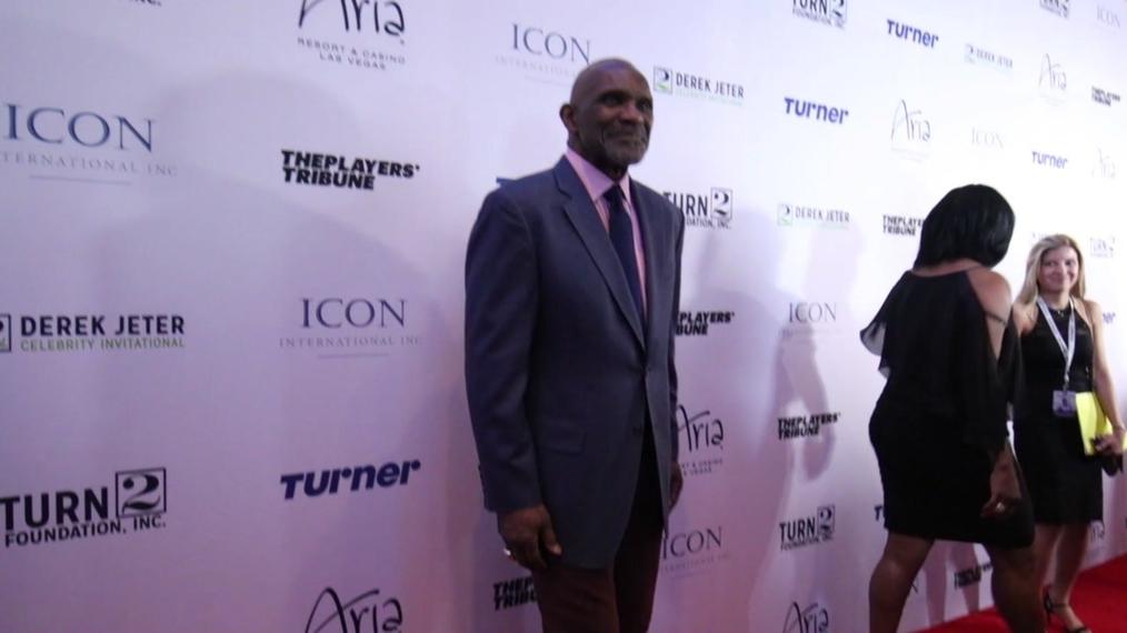 Harry Carson attends the 2018 Derek Jeter Celebrity Invitational Gala at the Aria Resort & Casino in Las Vegas.mp4
