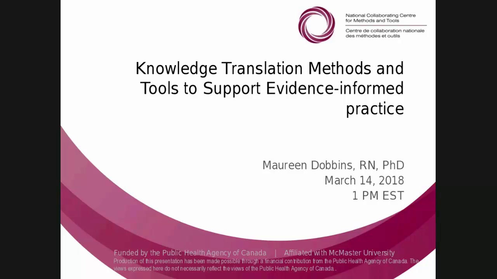 Knowledge Translation Methods and Tools to Support Evidence-informed Practice