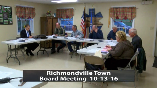 Richmondville Town Board -- 10-13-16