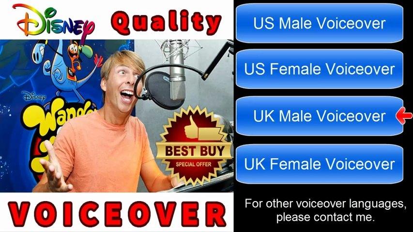 Make you a disney quality voiceover female/male