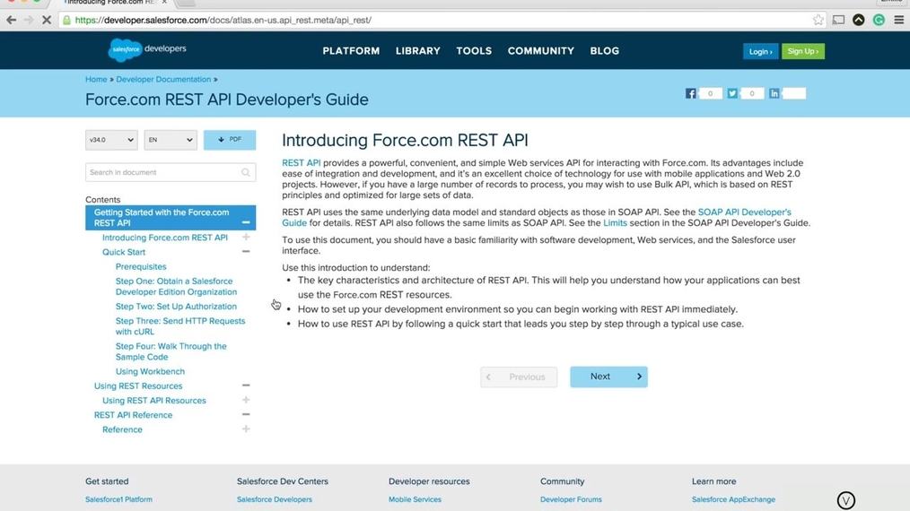 Salesforce - Accessing the REST API Documentation