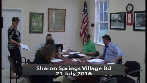Sharon Springs Village Bd -- 21 July 2016