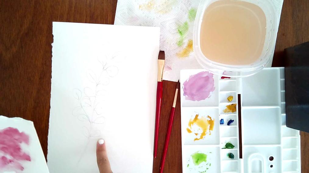 Watercolor practice eucalyptus leaf