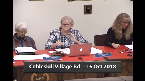 Cobleskill Village Bd -- 16 Oct 2018