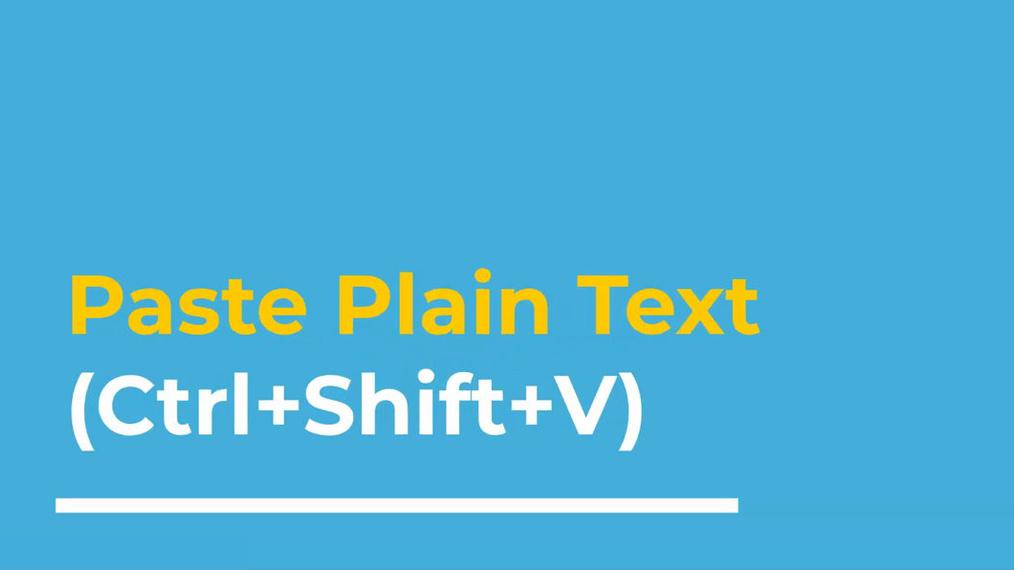 2. Paste Plain Text