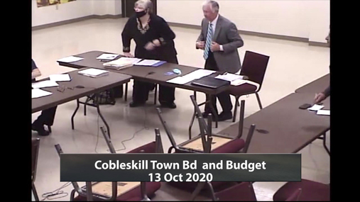 Cobleskill Town Bd and Budget 13 Oct 2020