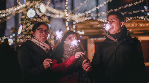 Christmas feeling with sparklers