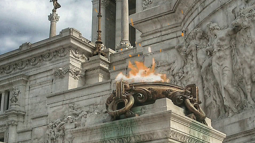 Fire in front of a temple