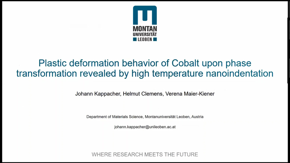 Johann Kappacher: Plastic deformation behavior of Cobalt upon phase transformation revealed by high temperature nanoindentation