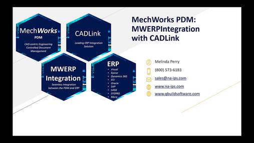 MechWorks PDM integrated with CADLink (MWERPIntegration).