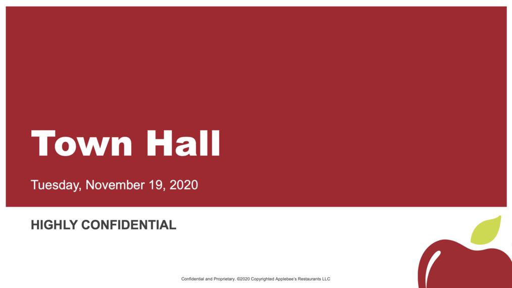 Applebee's Town Hall, November 19, 2020