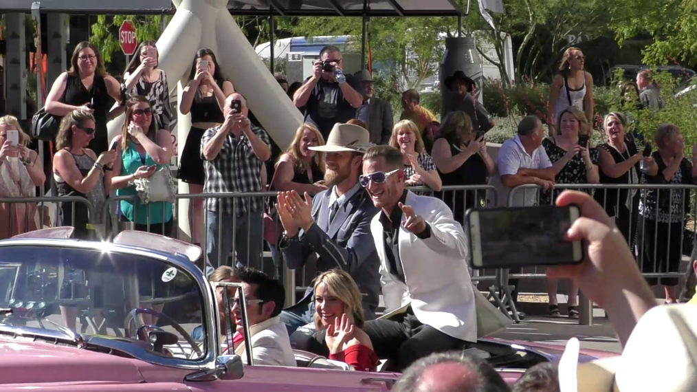 Florida Georgia Line has Elvis driving as they arrive to the 52nd Academy Of Country Music Awards at T-Mobile Arena in Las Vegas.mp4