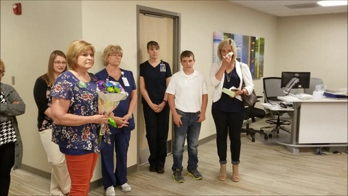 Deb Richter recognized by fellow LRHC staff members