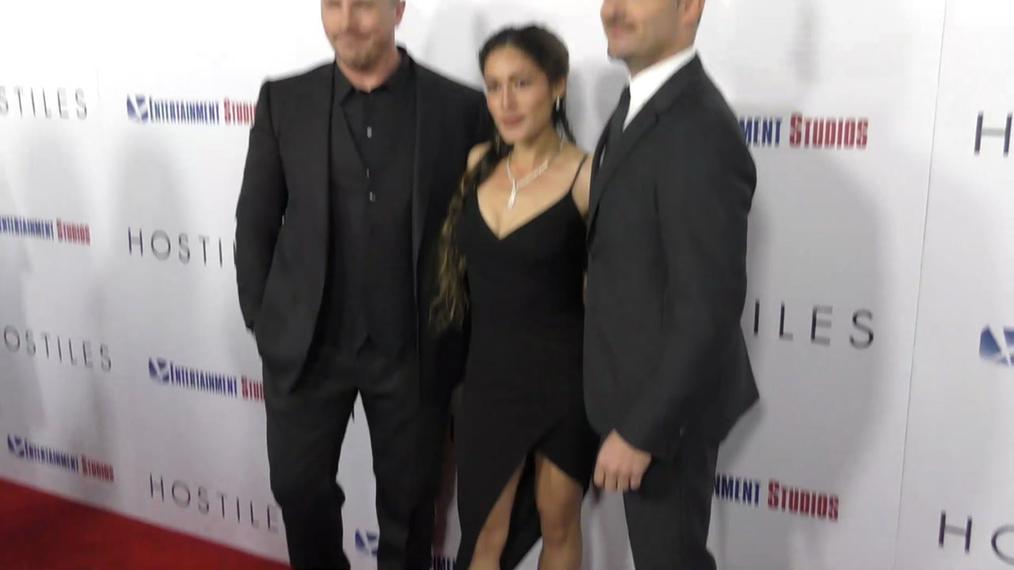 Christian Bale, Q'Orianka Kilcher and Scott Cooper at the Hostiles Premiere at Samuel Goldwyn Theater in Beverly Hills.mp4
