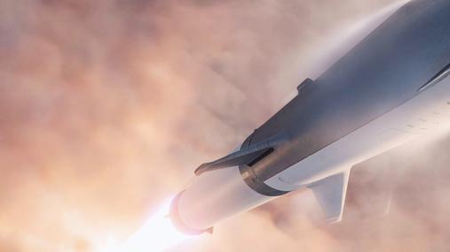 Rocket flying to orbit