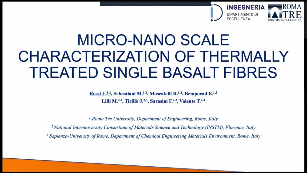 Edoardo Rossi: Micro- and nano-scale characterization of thermally treated single basalt fibres