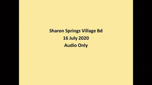 Sharon Springs Village Bd -- 16 July 2020