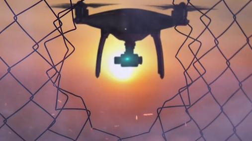drone, sun, fence, fire