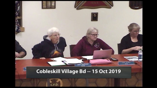 Cobleskill Village Bd -- 15 Oct 2019