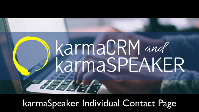 Overview of the Individual Contact Page in karmaSpeaker