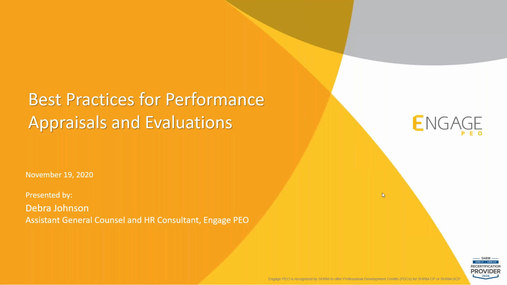November 2020 HR Webinar - Best Practices for Performance Appraisals and Evaluations