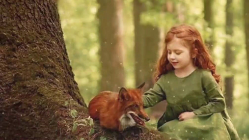Girl and the red fox