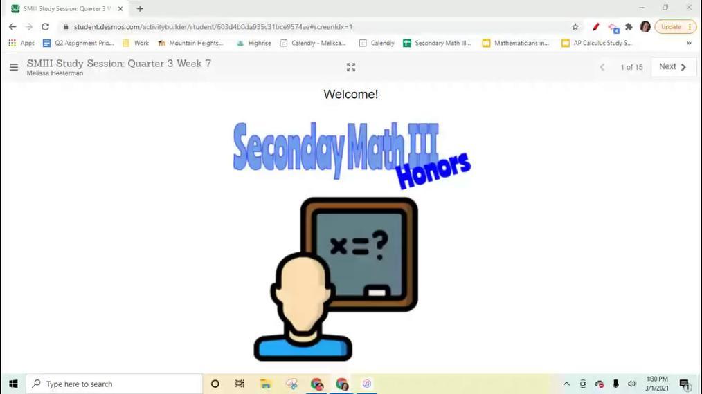Secondary Math III Honors Q3W7 Study Ession