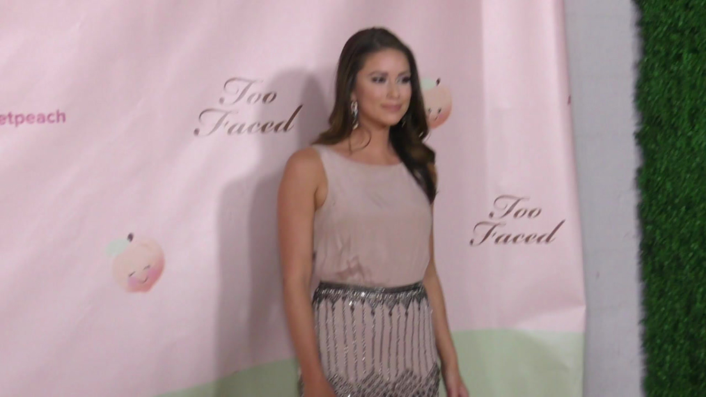Nia Sanchez at the Too Faced's Sweet Peach Launch Party at The Lot in Hollywood.mp4
