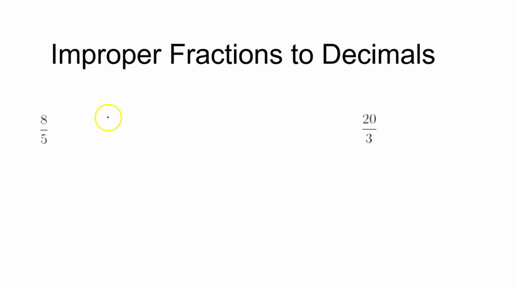 Math 7 Improper Fractions and Mixed Numbers to Decimals
