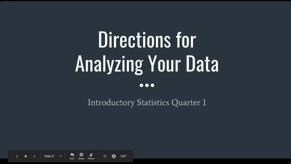 Directions for Analyzing Your Data