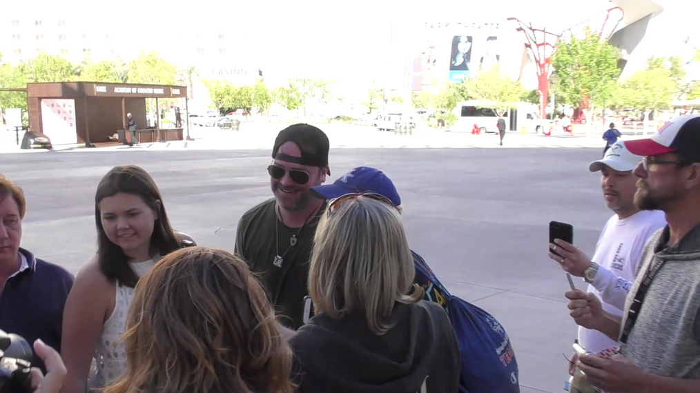 Lee Brice outside ACM Awards Radio Row at T-Mobile Arena in Las Vegas.mp4