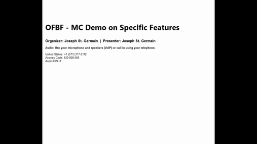 MC Demo on Specific Features