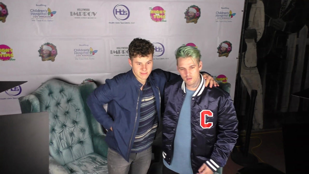 Aaron Carter and Nolan Gould at The Night Time Show Holiday Special Benefiting Children's Hospital at Improv Comedy Club in West Hollywood.mp4