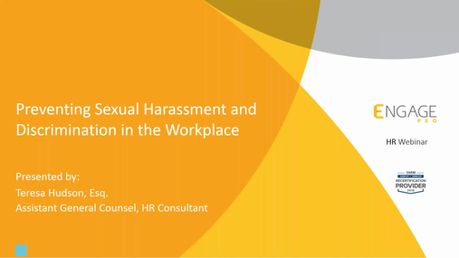 January 2018 HR Webinar - Preventing Sexual Harassment