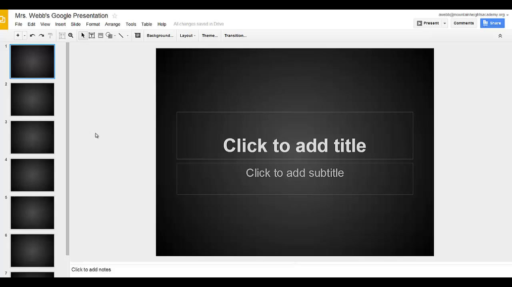 Google Presentations - Changing the background of slides and slide layout.mp4