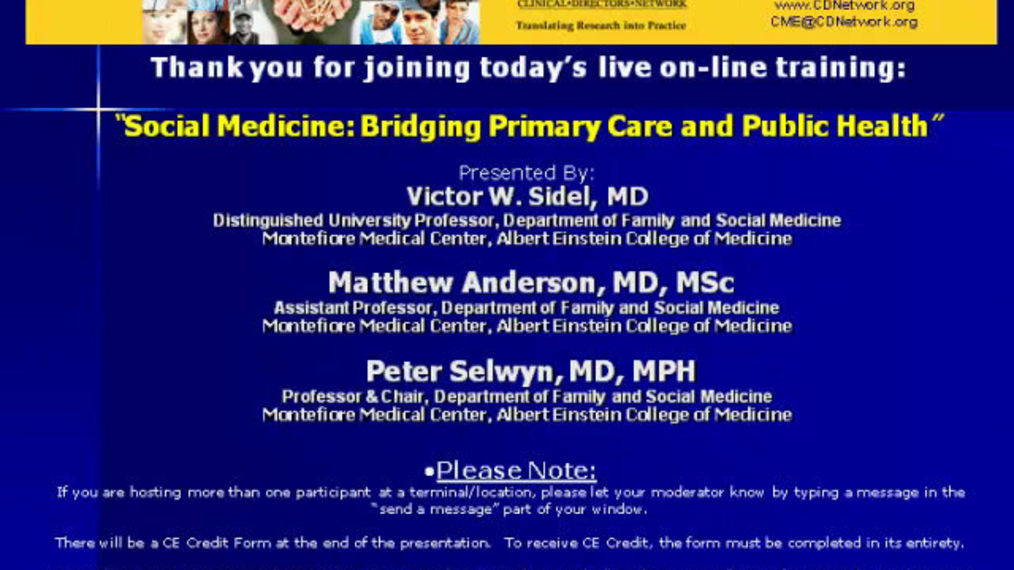 Social Medicine - the Interface between Public Health and Primary Care