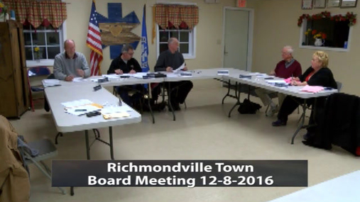 Richmondville Town Board -- 12-8-2016