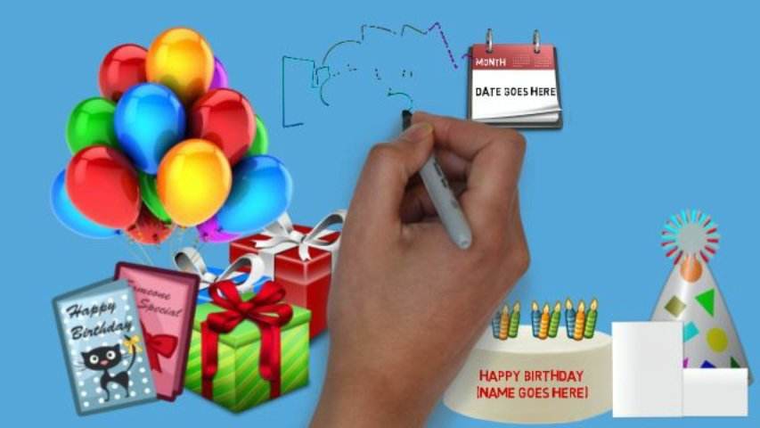Create a personalised birthday whiteboard doodle with photo and your personal message