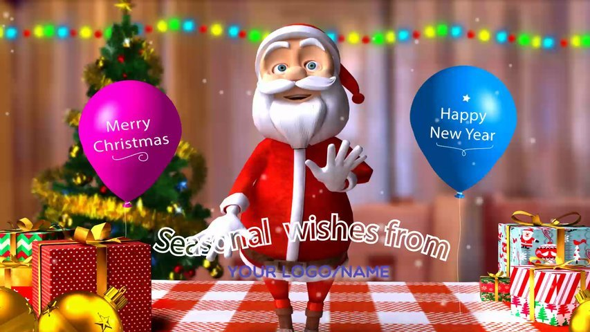 Your Christmas or New Year greetings animation video