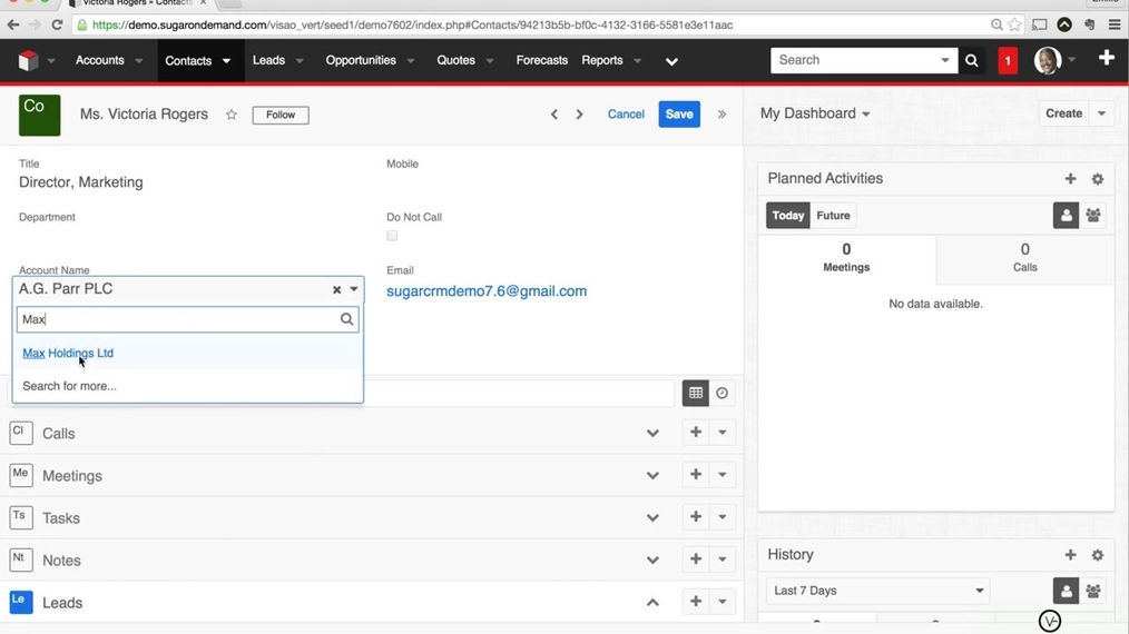 SugarCRM7 - How to Change Relationships between Records