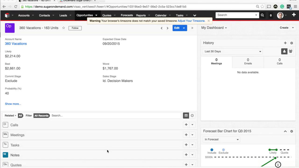 Examine SugarCRM Pipeline Changes by Day using Keen.io