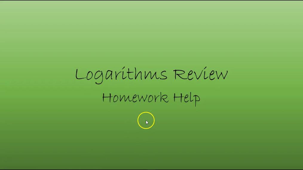 Precalc Logarithms Review Homework Help.mp4