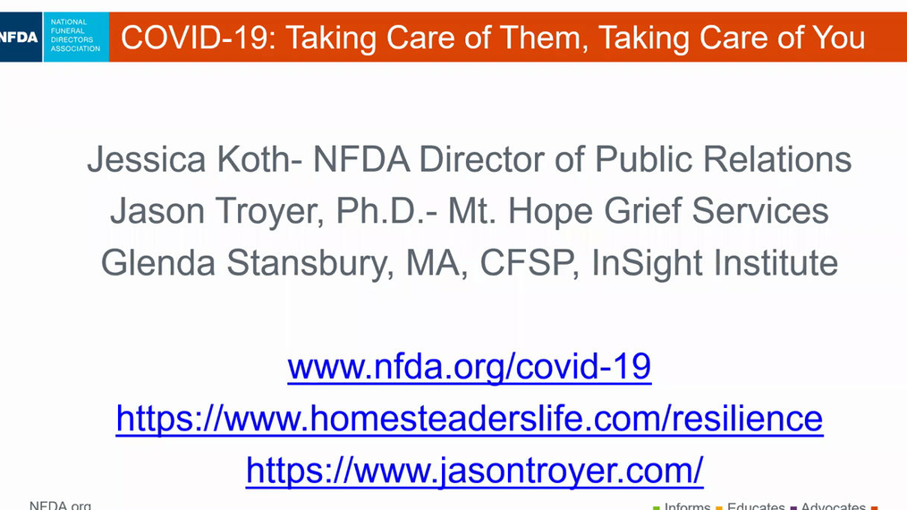 NFDA: Taking Care of Them, Taking Care of You