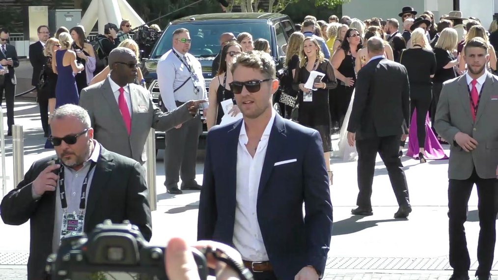 Brett Young arriving to the 52nd Academy Of Country Music Awards at T-Mobile Arena in Las Vegas.mp4